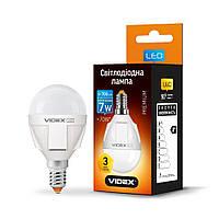 LED лампа VIDEX G45 7W E14 3000K 220V, 24009