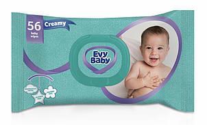 Салфетки детские влажные Evy baby Creamy c алоэ вера 56 шт