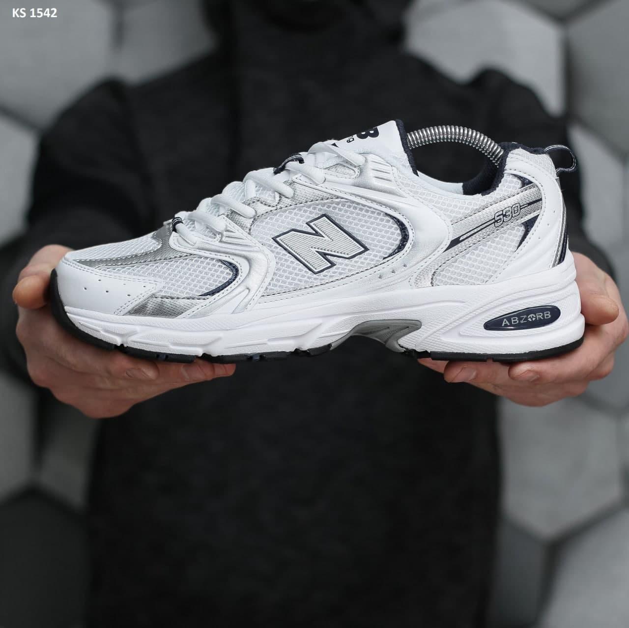 Мужские кроссовки New Balance 530 abzorb (белые) KS 1542 спортивные крутые кроссы