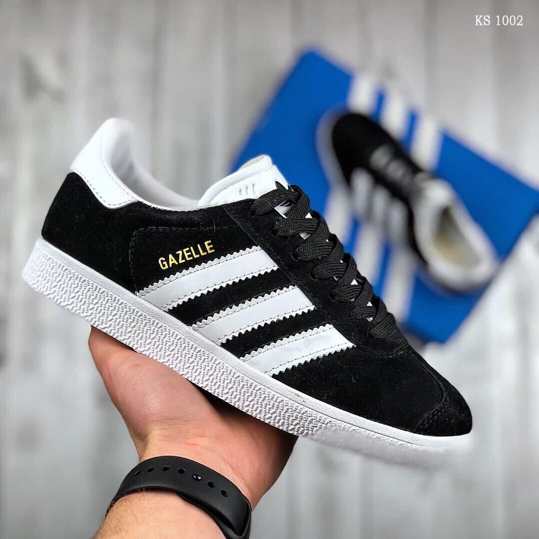 Чоловічі кросівки Adidas Gazelle (Чорно-білі) KS 1002 спортивні легкі кеди