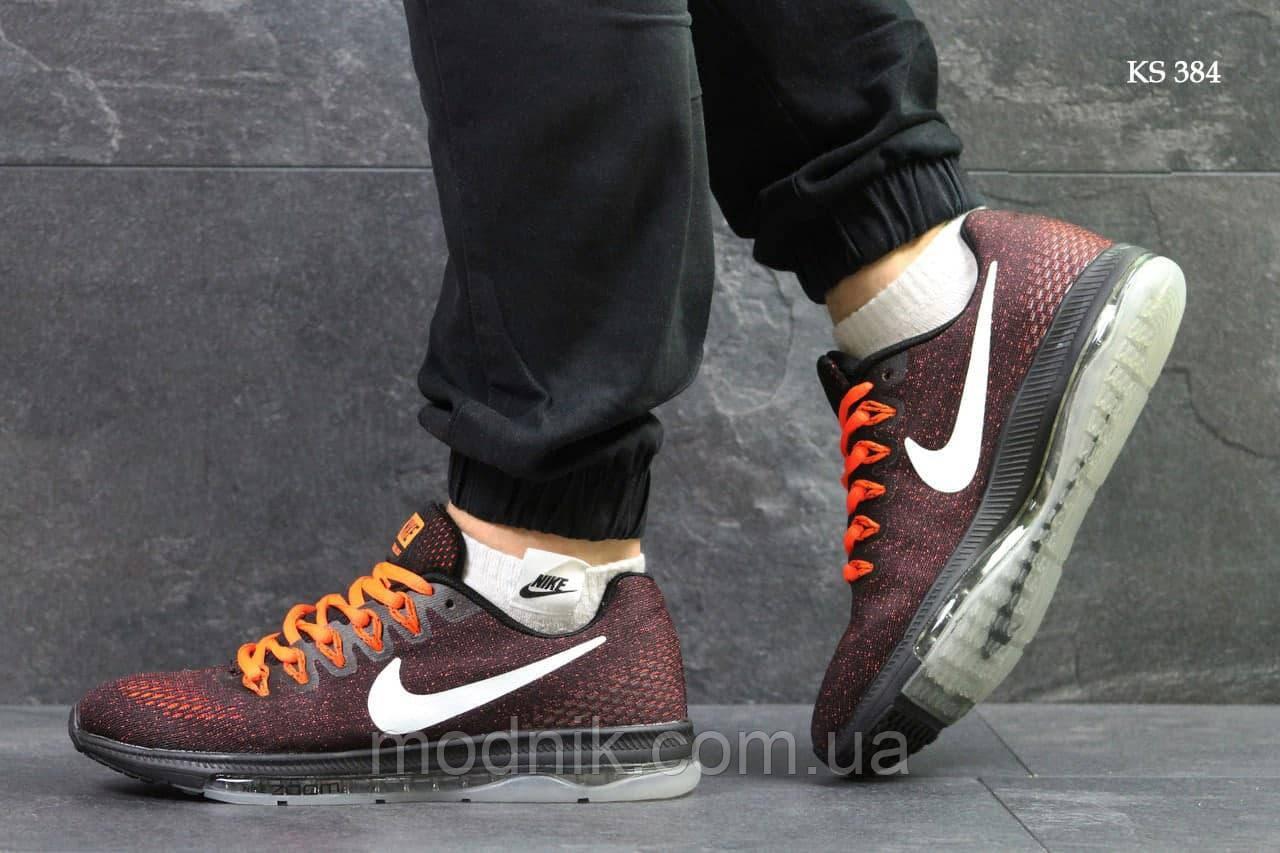 Чоловічі кросівки Nike Zoom All Out (бордово-помаранчеві) KS 384 демісезонна легка взуття