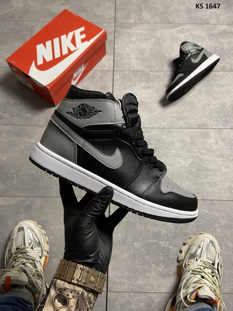 Мужские кроссовки Nike Air Jordan 1 Retro High Shadow (черно-серые) KS 1647 кроссы модные повседневные