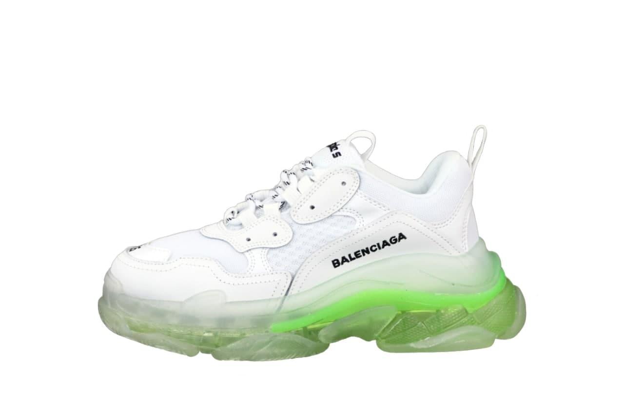 Женские кроссовки Balenciaga Triple S (белые с зеленым) К12536 качественная обувь с трехслойной подошвой