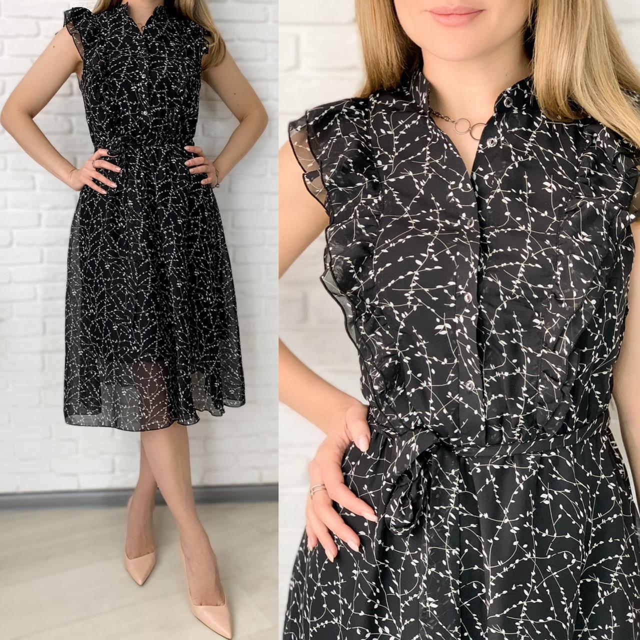 Черное шифоновое платье миди с поясом 26-833-2