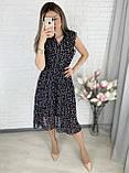 Черное шифоновое платье миди с поясом 26-833-2, фото 3