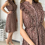 Черное шифоновое платье миди с поясом 26-833-2, фото 5