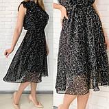 Черное шифоновое платье миди с поясом 26-833-2, фото 4