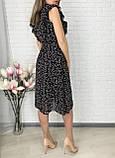 Черное шифоновое платье миди с поясом 26-833-2, фото 7