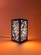 Ночник деревянный настольный с цветочным узором, светильник-ночник 21х12х12