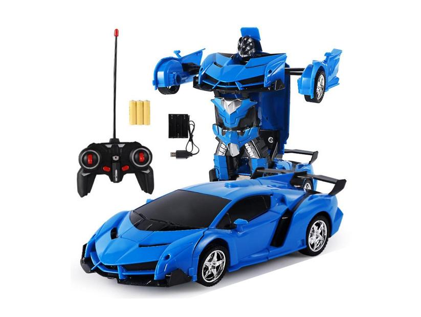 Радіокерована машина трансформер Ламборджині з пультом Синя