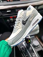 Мужские кроссовки Dior x Nike Air Max 90 (бело-голубые) стильная демисезонная обувь KS 1645