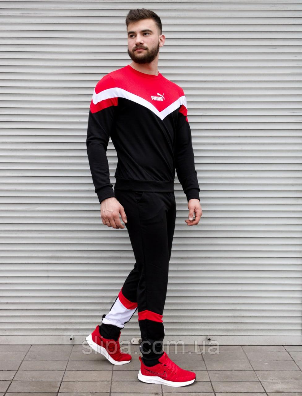 Чёрный спортивный костюм Puma с красными вставками   двухнить   свитшот и штаны