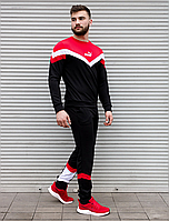 Чёрный спортивный костюм Puma с красными вставками   двухнить   свитшот и штаны, фото 1