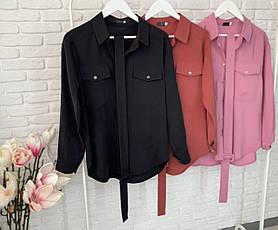 Женская рубашка прямого кроя с поясом 3 цвета 26-167