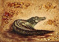 """Картина из янтаря на холсте """" Кракодил """" 30x40 см"""