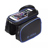 """Фирменная велосумка C2B Touch Screen карман для смартфона до 6"""". Сумка велобагажник для велосипеда Черная"""