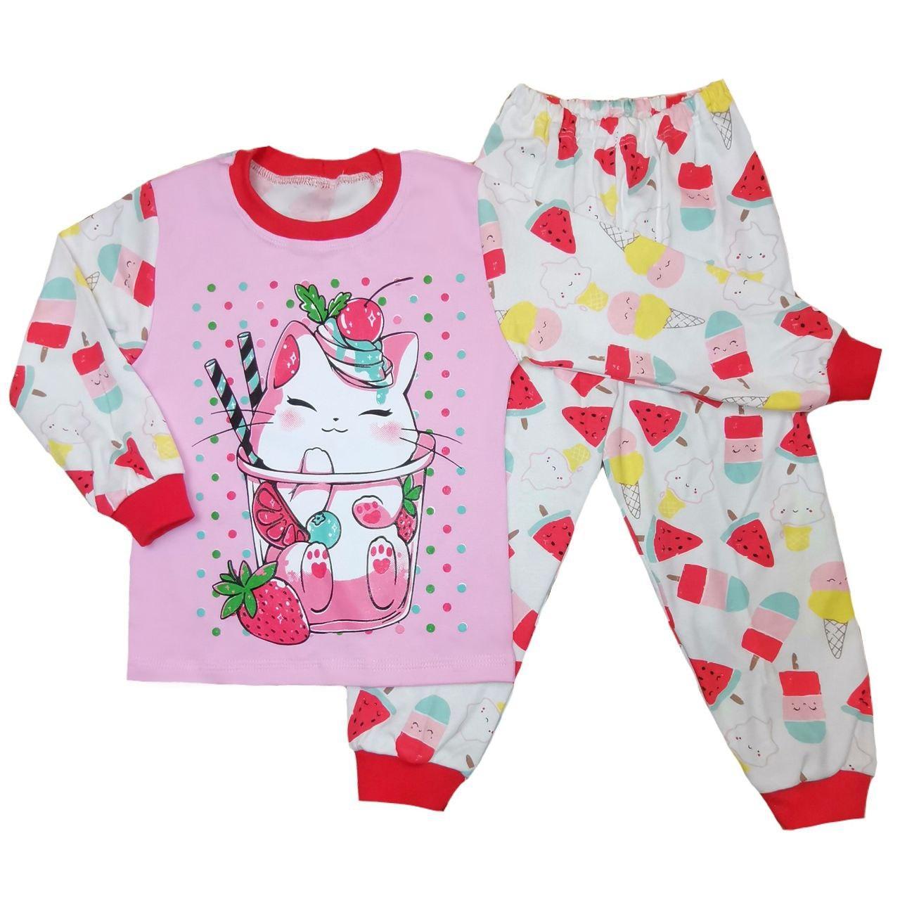 Дитяча піжама для дівчинки з принтом Cat інтерлок-піньє