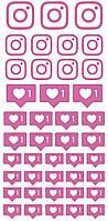 """Набір наклейок на коробку """"Інстаграм"""" рожевий 50х25"""