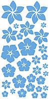 """Набір наклейок на коробку """"Квіти"""" блакитний 50х25"""