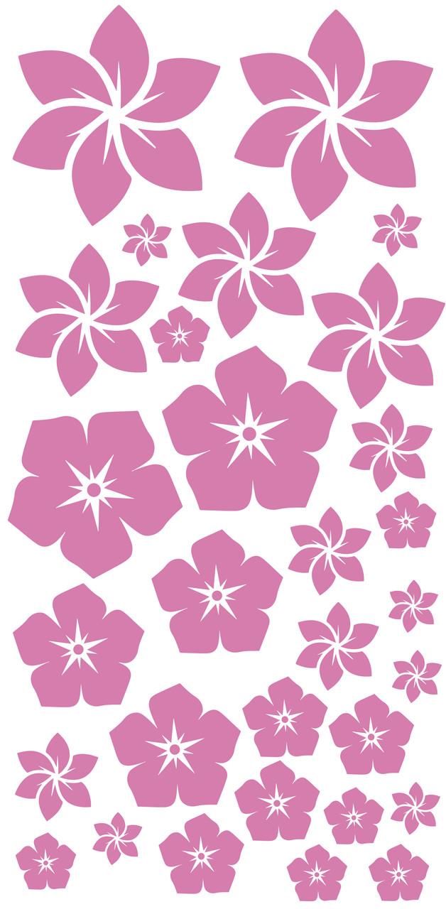 """Набір наклейок на коробку """"Квіти"""" рожевий 50х25"""