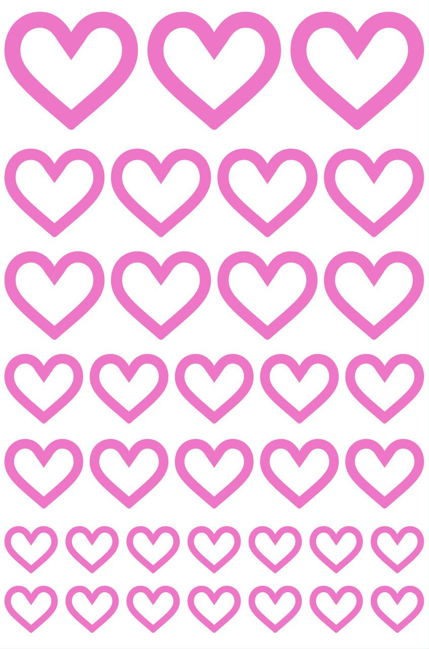 """Набір наклейок на коробку """"Сердечка контур"""" рожевий 50х33"""