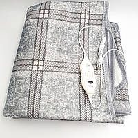 Электропростынь электро грелка простынь одеяло с сумкой electric blanket 115х155см 86Вт UKC клетчатая серая