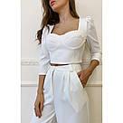 Брючный костюм с топом женский молочного цвета, фото 3