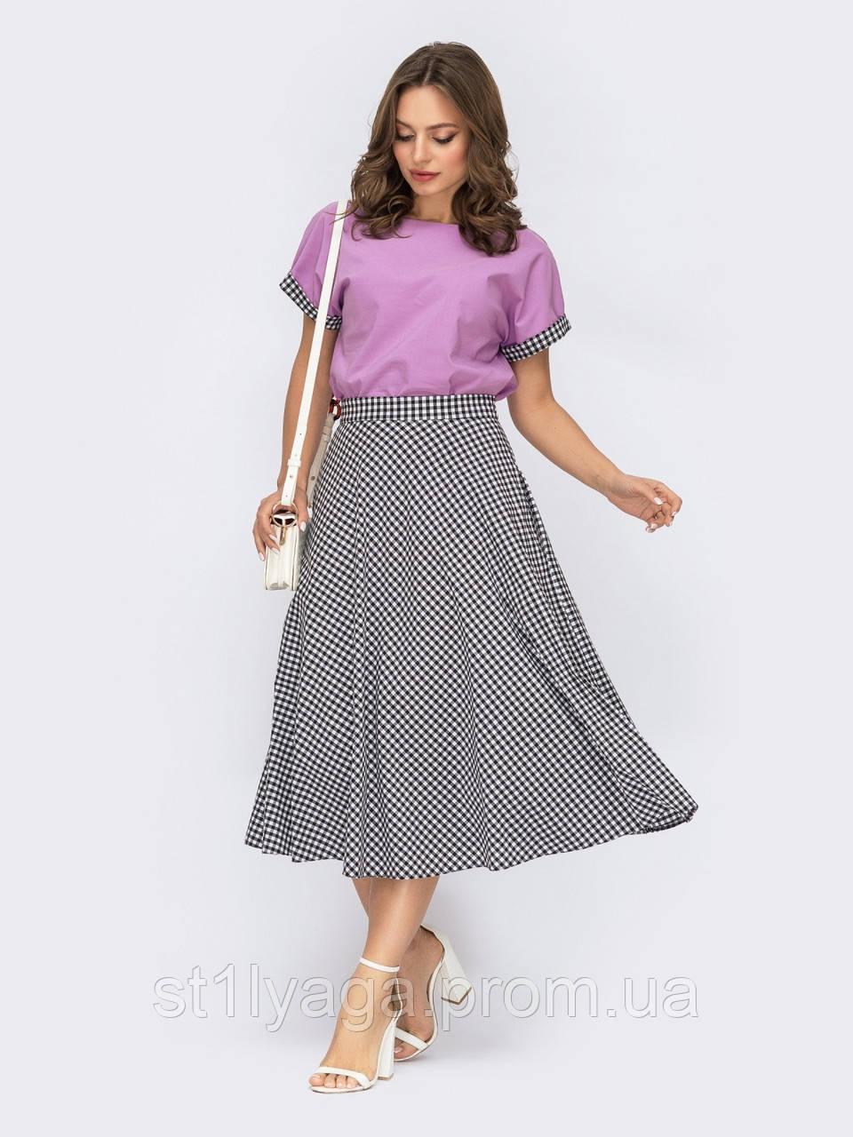Костюм с блузкой и юбкой в фиолетовом цвете ЛЕТО