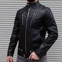 Мужская стильная кожаная куртка из кожзама черная | Демисезонная кожанка производство Турция