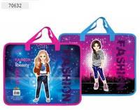 Папка-портфель пластиковий на блискавці, з тканинними ручками для Дівчинки