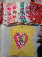 Детская трикотажная футболка для девочки Кролик 4-8 лет, цвет уточняйте при заказе