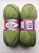 Пряжа для вязания Alize Cotton Gold Ализе Коттон Голд  цвет 485 зеленый