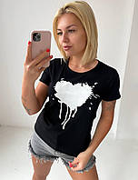 Футболка женская 327 Сердечко (42 44 46 48 50) (цвета: фрез, чёрный, белый, пудра, лаванда) СП, фото 1