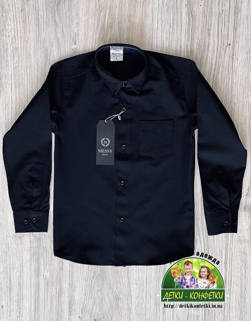 Черная стильная рубашка для мальчиков и подростков