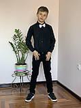 Черная стильная рубашка для мальчиков и подростков, фото 4