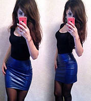 Короткая юбка из экокожи
