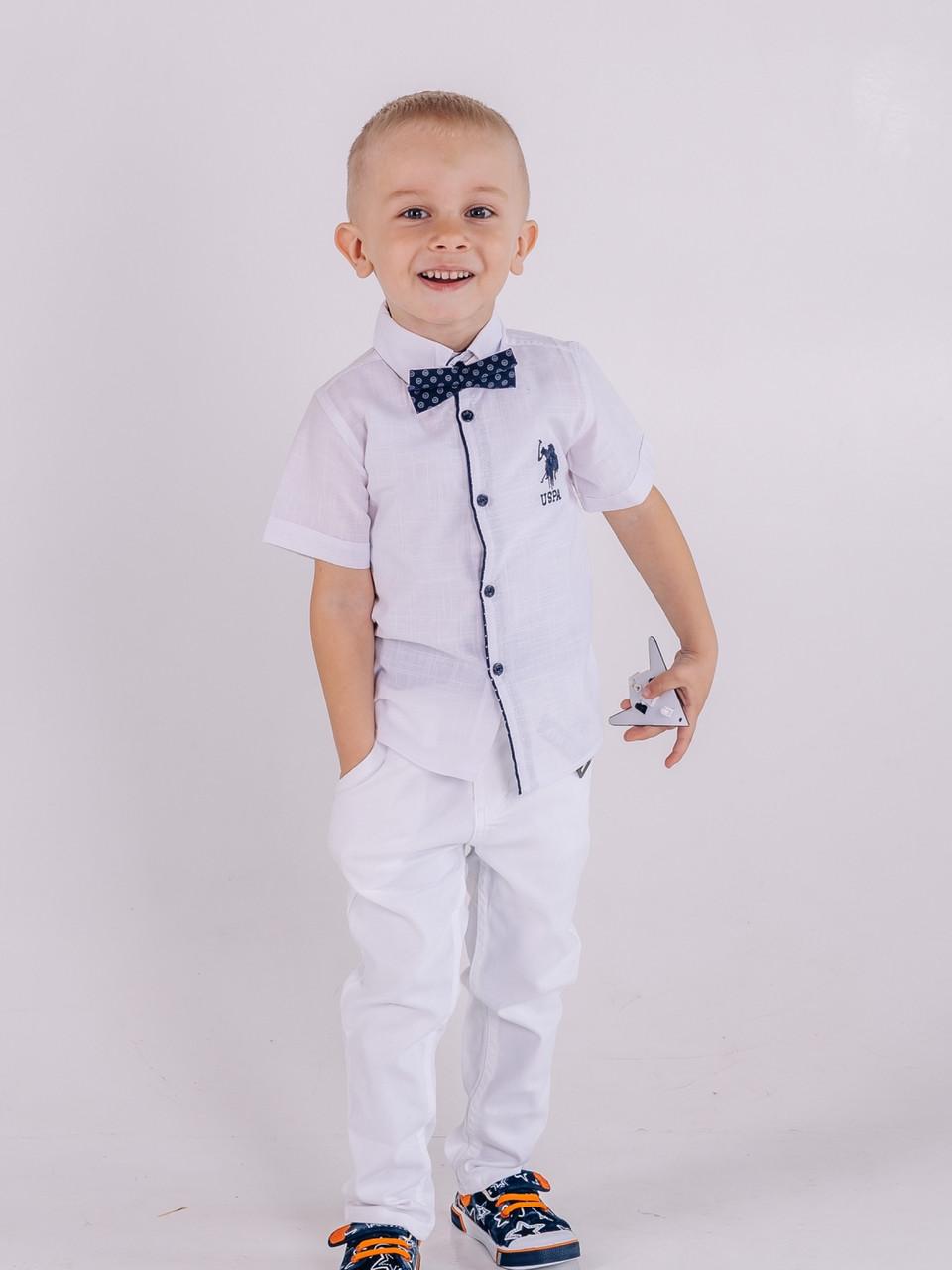 Рубашка белая Polo для мальчика 1-4 лет