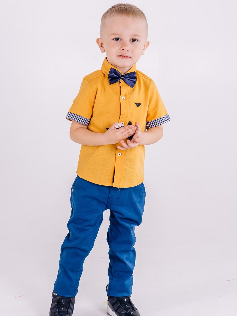 Оранжевая рубашка Armani с коротким рукавом для мальчика 3-4 года