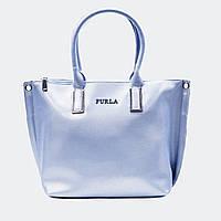 Модная женская голубая сумочка кожаная большая 678