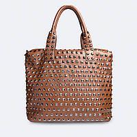 Стильная сумка кожаная коричневая большая повседневная 9017
