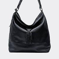 Модна жіноча сумка чорна шкіряна велика 1970