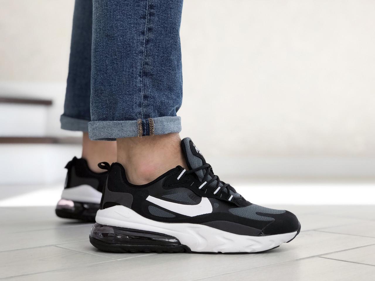 Мужские кроссовки Nike Air Max 270 React серые / текстильные кроссовки Найк Реакт (Топ реплика ААА+)