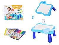 Детский мольберт/столик для рисования YM001-2 с фломастерами в наборе (Синий)