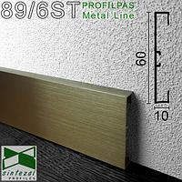Алюмінієвий плінтус Profilpas Metal Line 89/6 Титан Сатин, 60х10х2000мм., фото 1