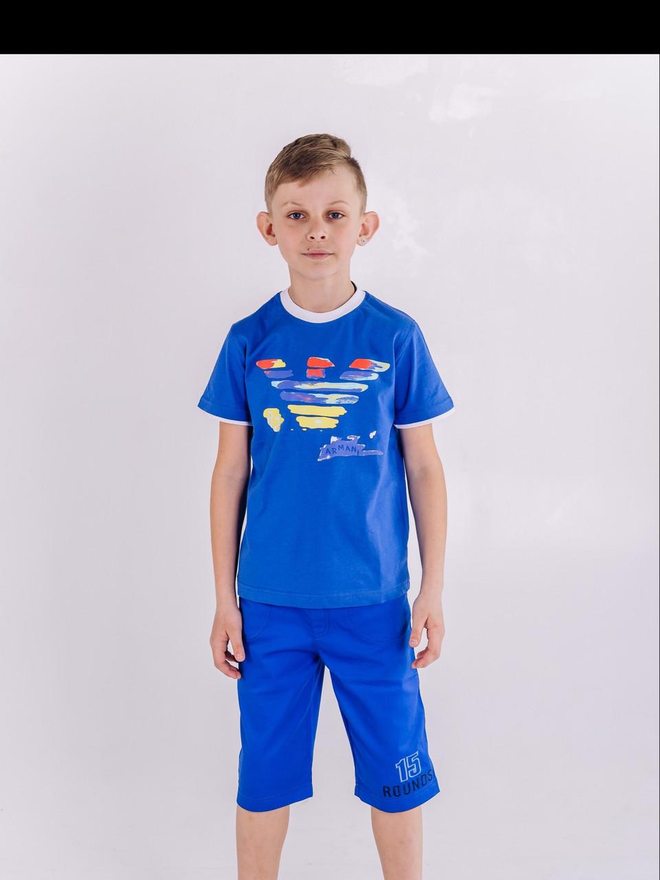 Летняя футболка для мальчика Армани Armani электрик