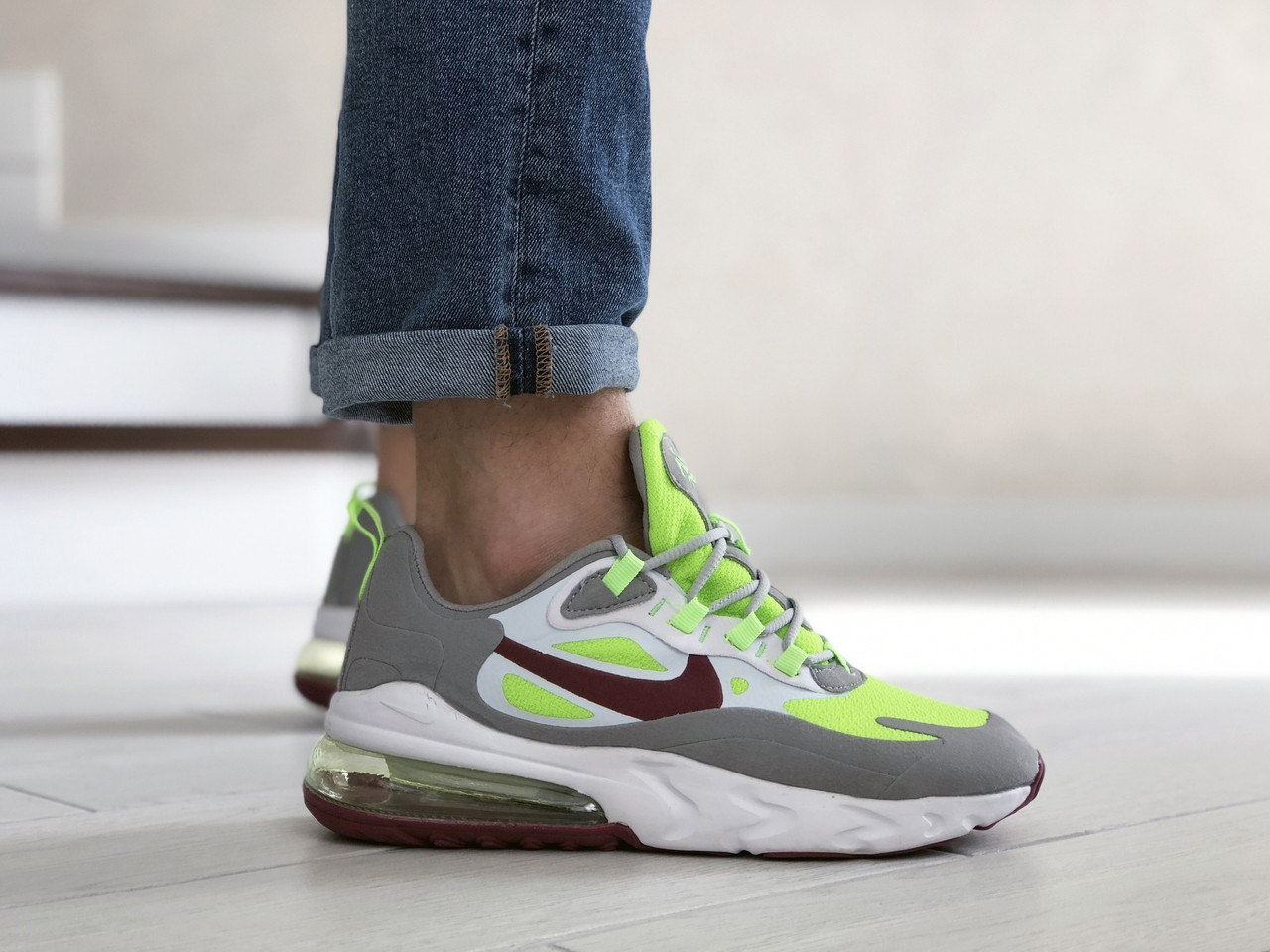 Чоловічі кросівки Nike Air Max 270 React сірі / текстильні кросівки Найк Реактив (Топ репліка ААА+)