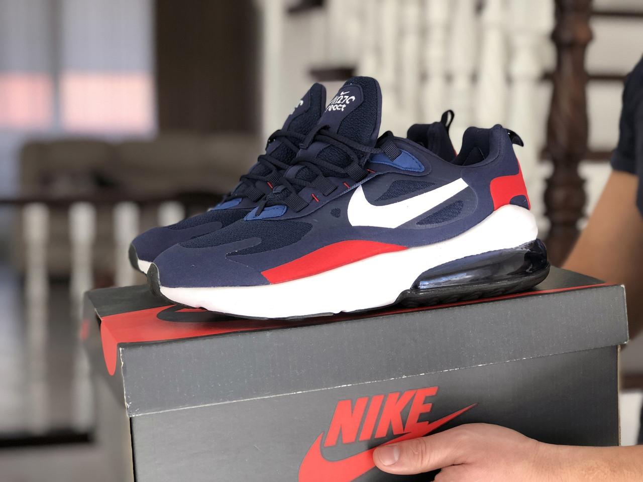 Мужские кроссовки Nike Air Max 270 React синие / текстильные кроссовки Найк Реакт (Топ реплика ААА+)