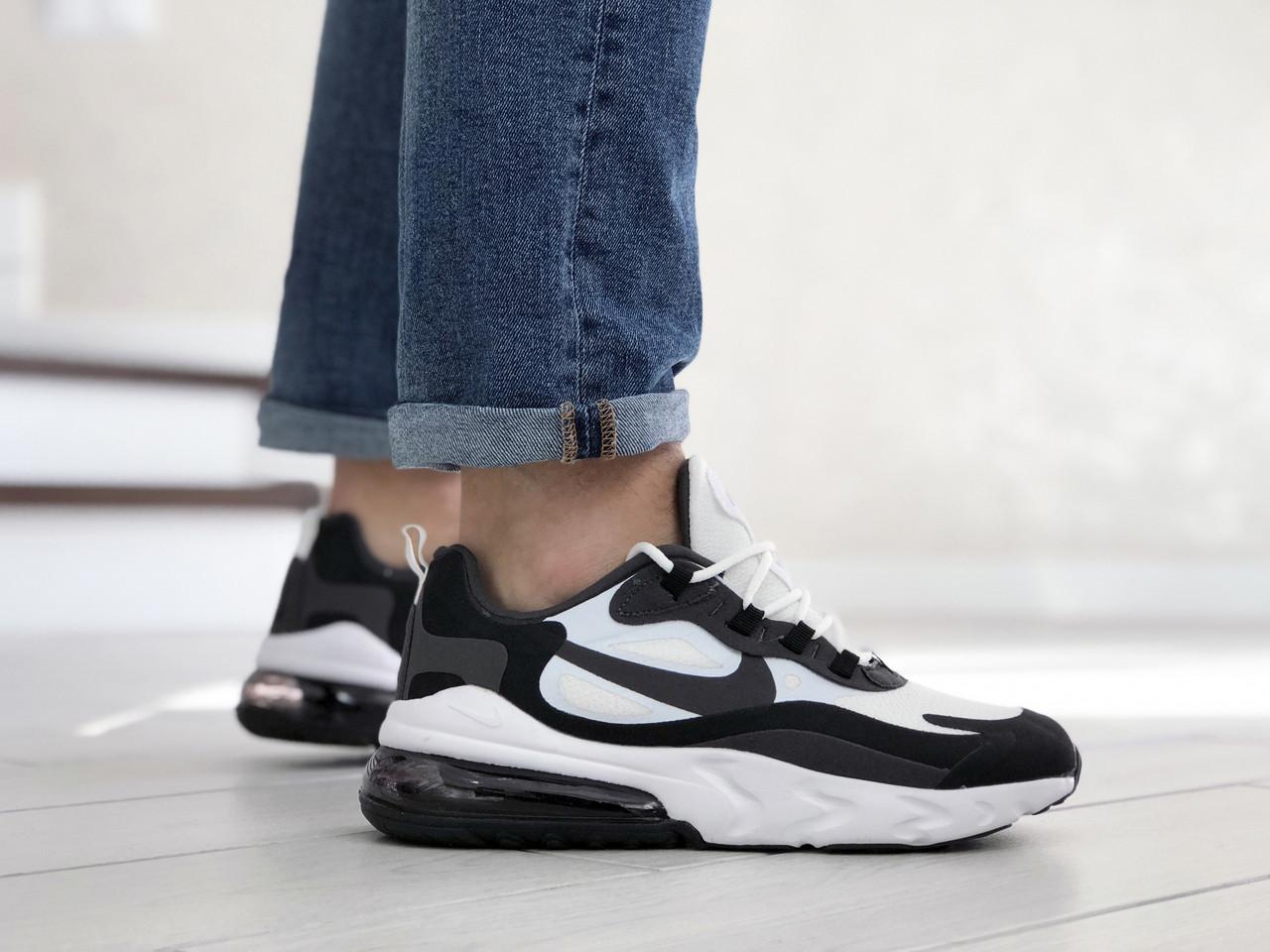 Мужские кроссовки Nike Air Max 270 React белые с черным  / текстильные кросовки Найк Реакт (Топ реплика ААА+)