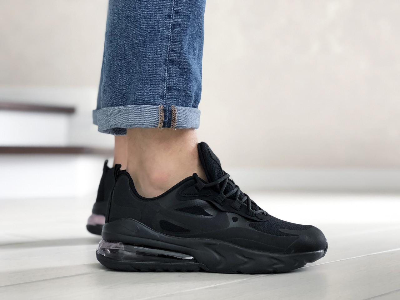 Чоловічі кросівки Nike Air Max 270 React чорні / текстильні кросівки Найк Реактив (Топ репліка ААА+)