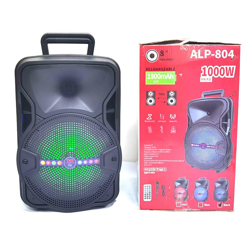 Портативная колонка ALP-804 10W, колонка-чемодан с светомузыкой и микрофоном, караоке